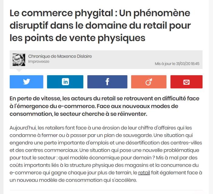 Le commerce phygital : un phénomène disruptif dans le domaine du retail pour les points de vente physiques